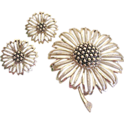 SALE Beautiful  Large Sarah Cov Sunflower Brooch and Earring Set