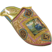 SALE Exceptional Antique Porcelain Slipper Pantoffel with Hand Painted Scene