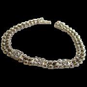 SALE 1930s Silver Tone Bead and Rhinestone Bracelet
