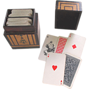 SOLD Victorian Bridge or Playing Card Decks and Wooden Box Holder c1890