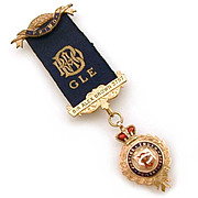 9K Gold Enamel Royal Order of Buffalo 1921 Medal