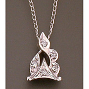 Diamonds in 14K White Gold Pendant on Matching Gold Chain