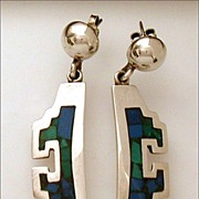 Vintage Aztec Mosaic Mexican Sterling Turquoise Lapis Inlay Earrings