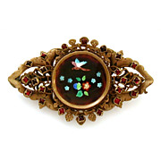 Antique Enameled Pin with Jeweled Mounting Classic Victorian Brooch with Butterfly