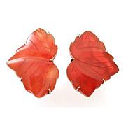 Chinese Carved Carnelian Leaf, Leaves on Sterling Screw-Back Earrings