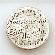 Rare 1836 to 1896 Texas Love Token Battle of San Jacinto 60 Yr. Anniversary on 1893 Quarter Co