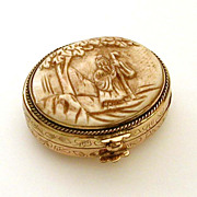 Chinese Pill Trinket Box Carved Lid Scene of Man in Traditional Costume Holding Staff Under ..