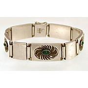 Rare Georg Jensen Sterling Chrysoprase Bracelet #56A