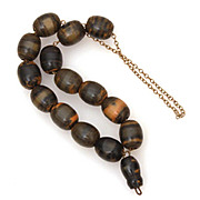 "Creamed Spinach Bakelite Prayer or Worry Beads on Chain, 14 Beads, 11.5"" Long"