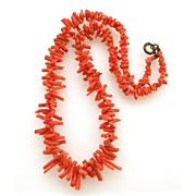 Genuine Short Branch Coral Necklace in Deep Orange Red Color Single Strand