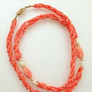 "Genuine Coral & Fresh Water Pearls Twist Necklace 23-1/2"" Long"