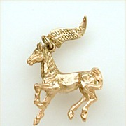 Aquarena Springs Amusement Park Sterling Horse Charm Gold Plate