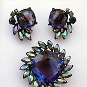 Claudette Japanned Demi Parure Large Blue & Purple Glass Stone with AB Pear Shaped Accents