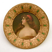 Vienna Art Plate Una Gitana - The Gypsy - Egyptian Revival Tin Litho Royal Saxony