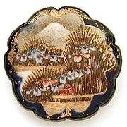 Large Satsuma Brooch Mount Fuji & Iris Blossoms Cobalt Blue Scallop Border, Signed Shimazu Mon