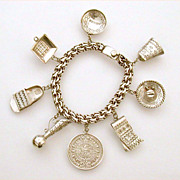 Mexican Sterling Charm Bracelet Ethnic Theme Large Charms, Mexico Souvenir - Cow Bell, Sombrer