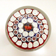 Toso Millefiori Paperweight TEXAS Murano Label Red White Blue