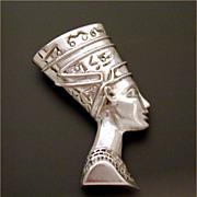 Sterling Egyptian Revival Pendant Nefertiti Bust by Ferrara