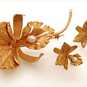 Mid-Century 18k Gold & Baroque Pearl Orchid Pin and Earrings Set