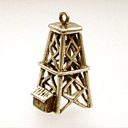 Danecraft Sterling Old Fashioned Oil Derrick Large Charm or Pendant