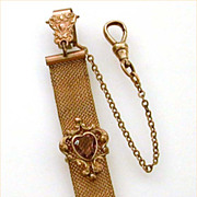 SOLD Antique Watch Fob Woven Chain Mesh Amethyst Glass Heart