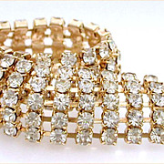 Clear Rhinestone Gold Tone Bracelet - Flexible & Fluid When Worn