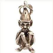 1940s Sterling Cross Leg Brownie Elf Leprechaun Charm