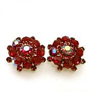 Weiss Dramatic Red Earrings Beads Aurora Borealis Rhinestones
