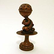 Rare Victorian Figural Toothpick Holder Neoclassical Dolphin Copper