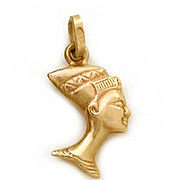 18K Gold Egyptian Nefertiti Bust Charm or Small Pendant