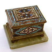 19th Century French Champlevé Enamel Bronze Dore Jewel Casket Marble Base