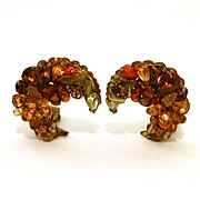 Signed Eugene Crescent Shape Encrusted Earrings in Autumn Colors of Yellow, Amber, and Topaz