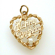 Happy Birthday Heart Charm Pendant 14k Gold & Cultured Pearl
