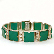 1926 Classic Art Deco Bracelet Sterling Chrysoprase Signed Payco