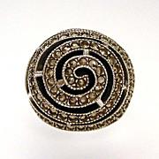 Designer Judith Jack Art Deco Revival Sterling Marcasite Onyx Ring