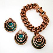 Matisse Heavy Copper Bracelet Green Enamel Charm & Earrings
