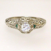 Art Deco 18k White Gold Filigree 1/2 Carat Diamond Emeralds Ring