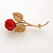 18K Gold & Dark Red Orange Coral Rose Pin Italy