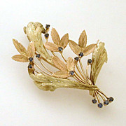18k Rose Green Gold Pin Sapphires Textured Curling Leaves 2.5""