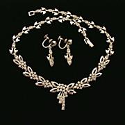 Engel Bros. Sterling Rhinestone Demi Parure Necklace Earrings