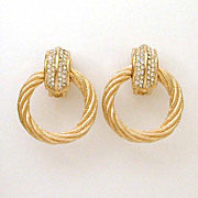 Christian Dior Door Knocker Earrings Rhinestones Gold Tone Twisted