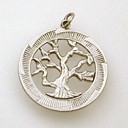 Vintage Sterling Tree of Life Charm Openwork Details