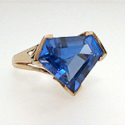 Ultra Modern Blue Spinel Cocktail Ring Sterling Vermeil, Size 8 Statement Ring, Runway Jewelry
