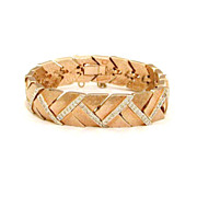 Panetta Gold Tone Fluid Bracelet with Interlocking Chevron Links