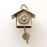 1940's Cuckoo Clock Moving Pendulum Sterling Charm