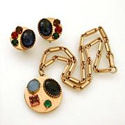 Necklace Earrings Unique Mix of Raised Rhinestones