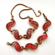 Rebajes Signed Red Enamel Copper Necklace & Bracelet