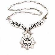 Marcus Coochwikvia Sterling Hopi Sun Necklace Silvercraft Guild