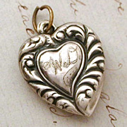 1940s Sterling Witch's Heart Shape Puffy Heart Charm