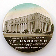 "3.5"" Cruver Celluloid Mirror Beaumont Texas Lincoln V12 Auto Advertising & Federal Buildi"